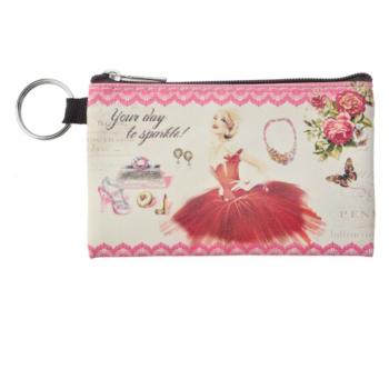 Clayre & Eef SBS0026-01 Pénztárca kulcstartóval, 12x8cm, műanyag, piros ruhás hölggyel