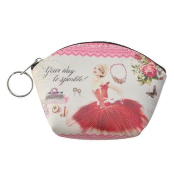 Clayre & Eef SBS0026-02 Pénztárca kulcstartóval,műanyag 12x9cm, piros ruhás hölgy