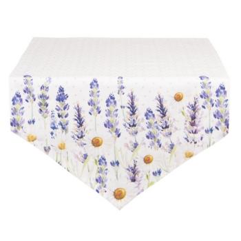 Clayre & Eef LF65 Asztali futó 50x160cm pamut, Lavender Field
