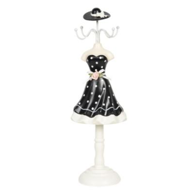 Ékszertartó baba 10x8x32cm, műanyag/fém, fekete alapon fehér pöttyös ruha rózsával