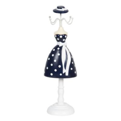 Ékszertartó baba 10x8x32cm, műanyag/fém, kék alapon fehér pöttyös ruha
