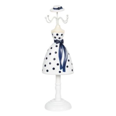 Ékszertartó baba 10x8x32 cm, műanyag/fém, fehér alapon sötétkék pöttyös ruha