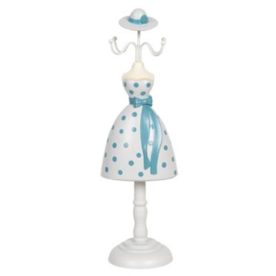 Ékszertartó baba 10x8x32cm, műanyag/fém, fehér alapon világoskék pöttyös ruha
