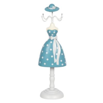 Ékszertartó baba 10x8x32cm, műanyag/fém,világoskék alapon fehér pöttyös ruha