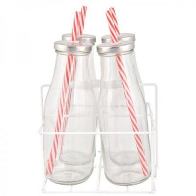 Szívószálas üveg szett tartóban 4x0,4 L
