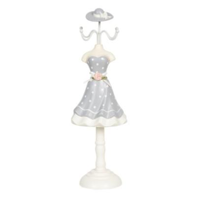 Ékszertartó baba 10x8x32cm, műanyag/fém, szürke alapon fehér pöttyös ruha rózsával