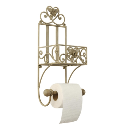 Clayre & Eef W4Y0173 Fém toalettpapír tartó fali, rózsás