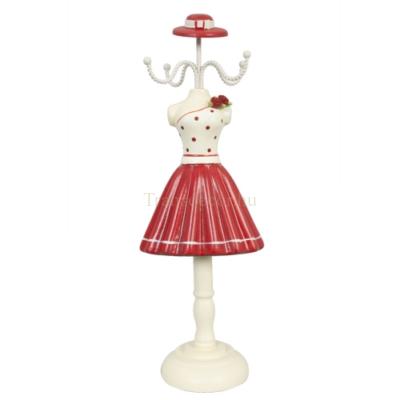 Clayre & Eef 61710 Ékszertartó baba 10,5x8x31,5cm,fehér-piros pöttyös felsős-piros szoknyás