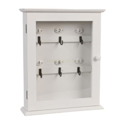 Clayre & Eef 6H0601 Fa kulcsosszekrény üveg ajtós,fehér,25x7x31cm