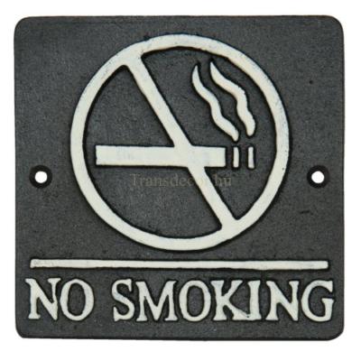 """Clayre & Eef 6Y1597 Öntöttvas fali tábla 12x12cm, """"No Smoking"""""""