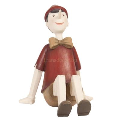 Clayre & Eef 6PR0658 Müanyag ülő nosztalgia pinokkió figura 15x11x14cm, piros ruhás