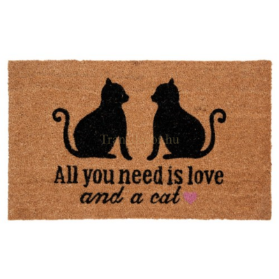 "Clayre & Eef MC109 Lábtörlő 75x45cm, macskákkal  "" All you need is love and a cat """