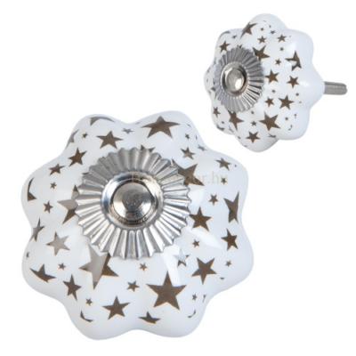 Clayre & Eef 63419 Ajtófogantyú porcelán 4x4cm, fehér csillag mintával