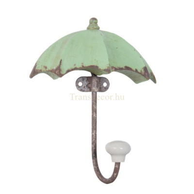 Clayre & Eef 6Y2135 Fém fogas esernyő alakú 12x16cm, antikolt zöld