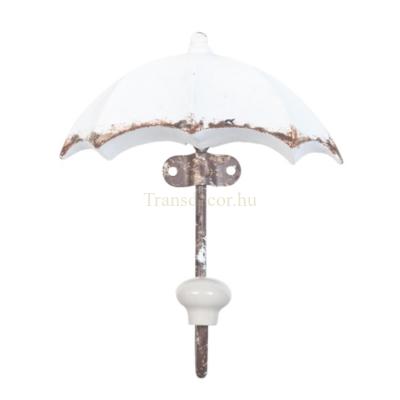 Clayre & Eef 6Y2136 Fém fogas esernyő alakú 12x16cm,fehér antikolt