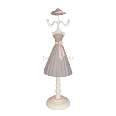 Clayre & Eef 63629 Ékszertartó baba, szürke ruhás,rózsaszín szalaggal rózsával, 10x8x33cm