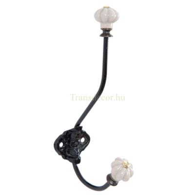 Clayre & Eef 6Y2179 Fali fém akasztó fekete 5x9x19cm,porcelán gombbal