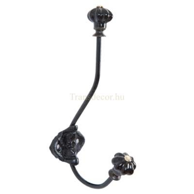 Clayre & Eef 6Y2180Z Fém fali akasztó fekete 5x9x19cm,fekete porcelán gombbal