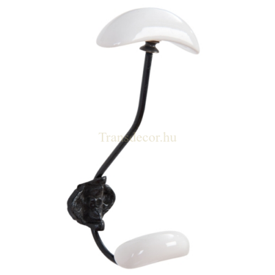 Clayre & Eef 6Y2181 Fém fali akasztó fekete,9x9x18cm,fehér porcelán véggel