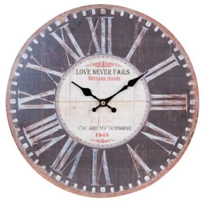 "Clayre & Eef 6KL0414 Fa fali óra 34cm, ""Love never fails, you are my sunshine"""