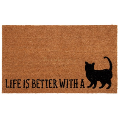 "Clayre & Eef CALMC Lábtörlő 75x45cm, macskás ""Life is better with a Cat"""