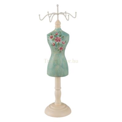 Clayre & Eef 63887 Ékszertartó baba 10x9x30cm, zöld rózsaszín rózsás