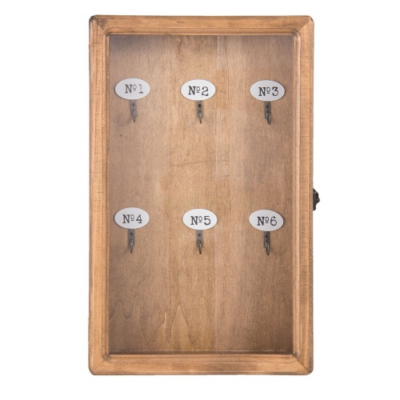 Clayre & Eef 6H1570 Fa kulcsos szekrény 24x7x38cm, natúr színű, üveg ajtóval, számozott 6db akasztóval