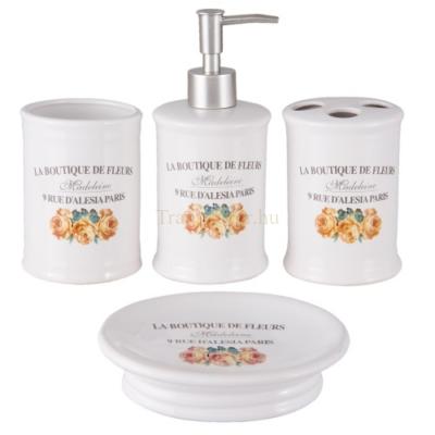 """Clayre & Eef 6CE0818 Kerámia fürdőszoba szett 4részes, rózsás, """"La Boutique De Fleurs"""""""