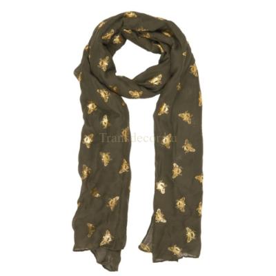 Textil sál 70x180cm, 100% viszkóz, zöld arany méhecskés