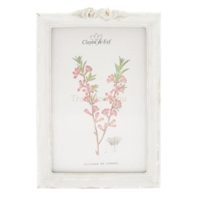 Clayre & Eef 2F0554M Fotókeret rózsás, antik szürke, műanyag, 10x15cm/12x18cm
