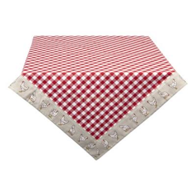 Clayre & Eef LCH01R Asztalterítő 100x100cm, kakasos, Red, 100% pamut