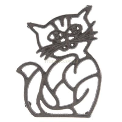 Clayre & Eef 6Y3052 Öntöttvas edényalátét, macska