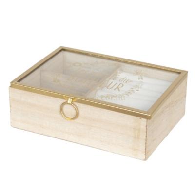 CLEEF.6H1727 Ékszertartó doboz fa, üvegtetővel