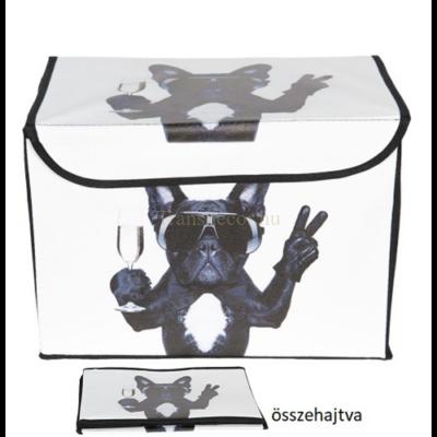 CLEEF.64146 Tárolódoboz tépőzáras karton műanyag borítású, 33x23x23cm, kutyás
