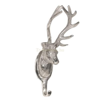 Clayre & Eef 6AL0004 Fém falifogas 10x8x23cm, ezüst színű, szarvasos