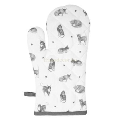 Clayre & Eef CAK44 Edényfogó kesztyű 18x30cm, pamut, Cats