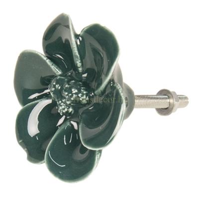 Clayre & Eef 64279 Kerámiavirág ajtófogantyú sötétzöld, 4cm