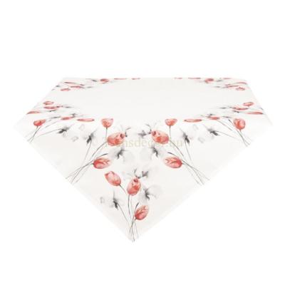 Clayre & Eef KT001.007 Asztalterítő 85x85cm 100% polyester, piros tulipános