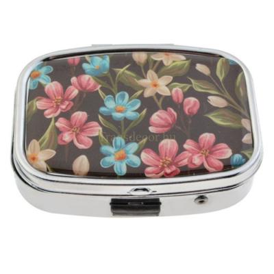 CLEEF.MLPI0004 Gyógyszeres fémdoboz, 2 fakkos, műanyag és tükrös belsővel, 4x5,5cm,színes virágos