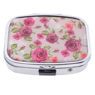 CLEEF.MLPI0008 Gyógyszeres fémdoboz, 2 fakkos, műanyag belsővel és tükörrel, 4x5,5cm, rózsás