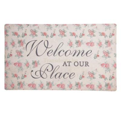 CLEEF.MC162 Előszoba belépő 74x44cm, gumi-polyester, Welcome at our Place-rózsás
