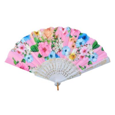 CLEEF.MLHF0007 Legyező 20cm, műanyag, virágos, rózsaszín