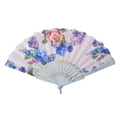 Clayre & Eef MLHF0008 Legyező 20cm, virágos,lila