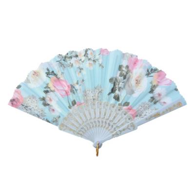 Clayre & Eef MLHF0006 Legyező 20cm, virágos,kék