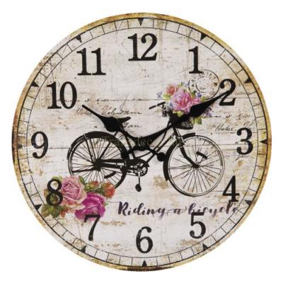 CLEEF.6KL0600 Óra biciklis rózsás, fa, 30cm