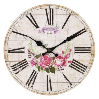 CLEEF.6KL0604 Fa falióra 30x3cm,rózsás-pillangós,Forever Love