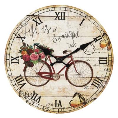 CLEEF.6KL0607 Fa falióra 30x3cm,bicikli rózsával