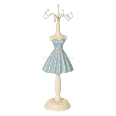 CLEEF.64461 Ékszertartó baba türkisz ruhás fehér pöttyökkel, 6x6x23cm, műanyag