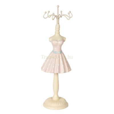 CLEEF.64462 Ékszertartó baba rózsaszín ruhás fehér pöttyökkel, 6x6x23cm, műanyag