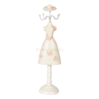 CLEEF.64473 Ékszertartó baba barackvirág színű pillangós, 9x8x34cm, műanyag